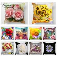 Fuwatacchi Flower Print Cushion Cover Rose Sunflower Dandelion Home Decor Pillows Cover Sofa car bedroom Decoration Pillowcase dandelion print table cover
