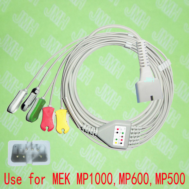 Compatible with DB9 6pin MEK MP1000,MP600 and MP500 ECG Machine the one-piece 5 lead cable and clip leadwire,IEC or AHA.