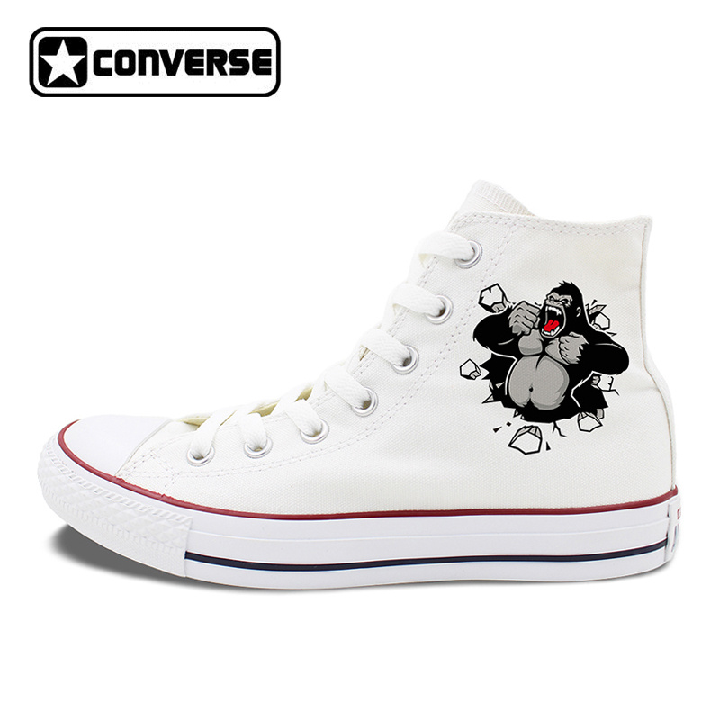 Original Design Gorilla Converse Shoes White Black Canvas Sneakers High Tops Lace Up Closure Pumps for Men Women