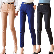 Pantalones Capris a la altura del tobillo para mujer, mallas femeninas, ropa de trabajo, pantalones elásticos de cintura alta, informales, 2019