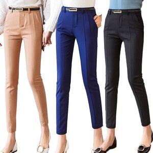 Image 1 - Trousers Women 2019 New  Ankle length Capris Female Leggings Pantalon Femme Workwear Slim High Waist Elastic Casual Woman Pants