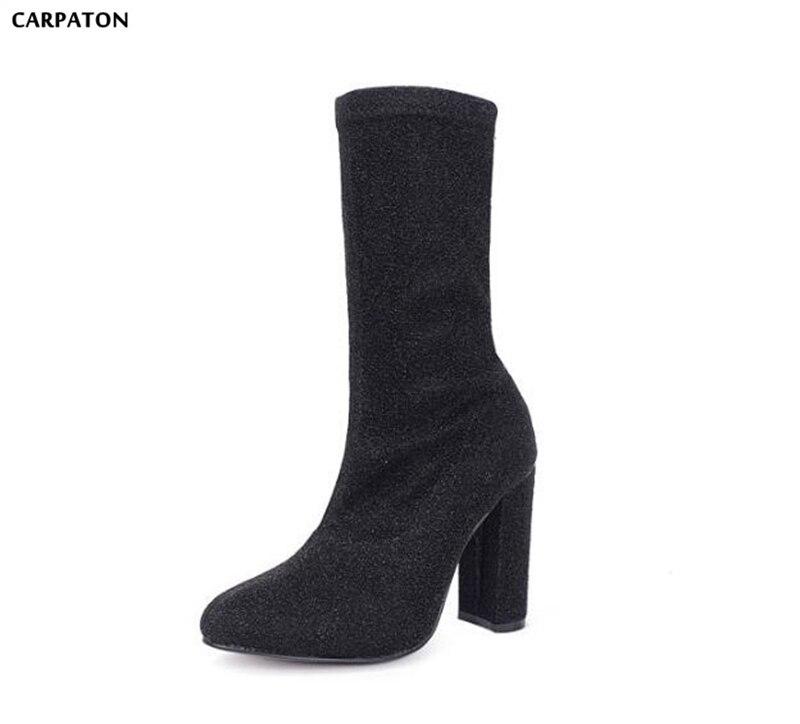 Carpaton зима Англия ботинки Martin Мода блестками стрейч сапоги Однотонная одежда круглый носок обувь на высоких квадратных каблуках Для женщин ...