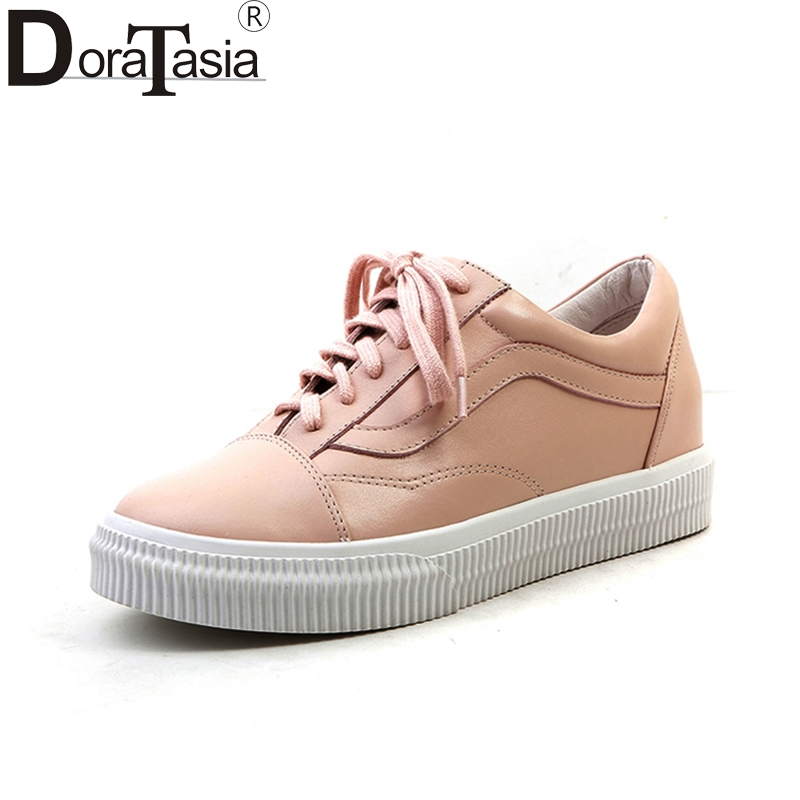 DoraTasia 2018 Genuie Cow Leather Large Size 34-40 Lace Up Women Shoes Woman Woman Shoes Sneakers Flats ribetrini summer large size 34 40 cow genuine leather woman shoes mix color leisure flats women shoes sneakers