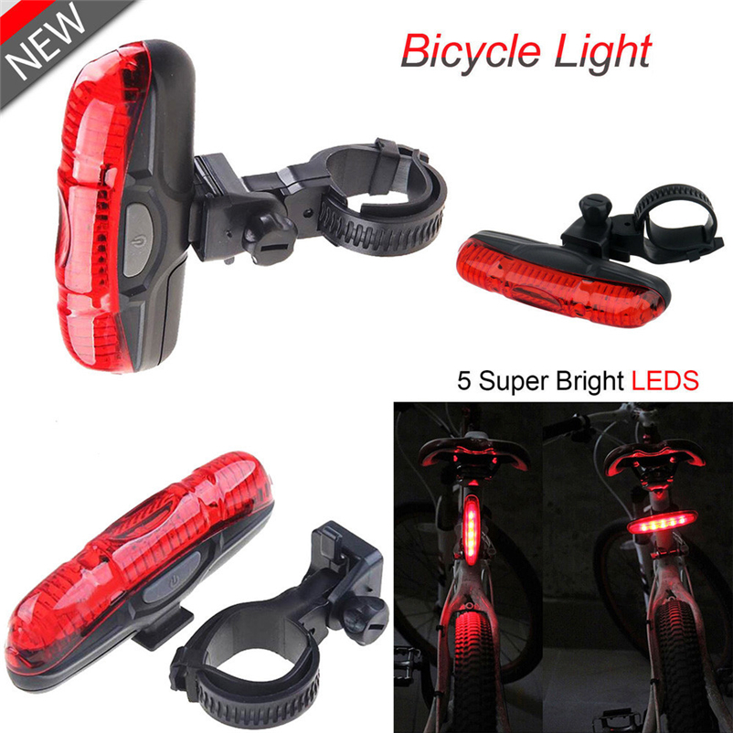 Portable Bike Cycling Lights 5 LED 4 Modes Bike Taillight Safety Warning Light Bicycle Rear Light Tail Lamp #FS#4MY22