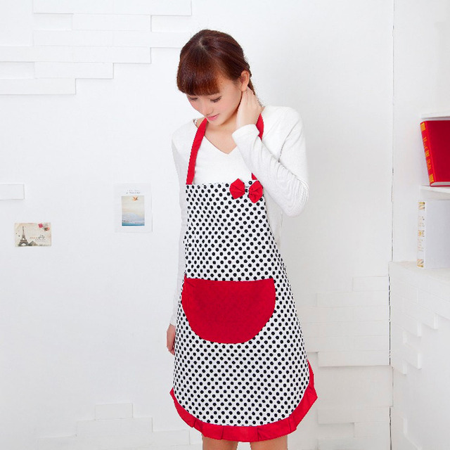 2017 Kitchen Apron For Women Cute Black Dot BowKnot Dot Women Kitchen Apron  Restaurant Bib Cooking