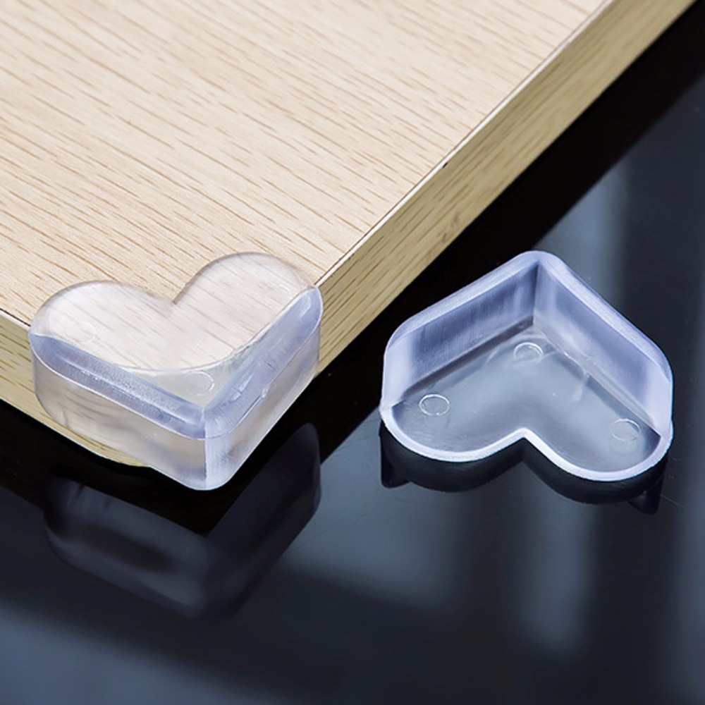 Nosii 4pcs Heart-shaped Baby Child Safety Table Corner Desk Edge Teapoy Protector Soft PVC Clear Cover Bumper nosii window door restrictor child baby safety security cable lock catch wire