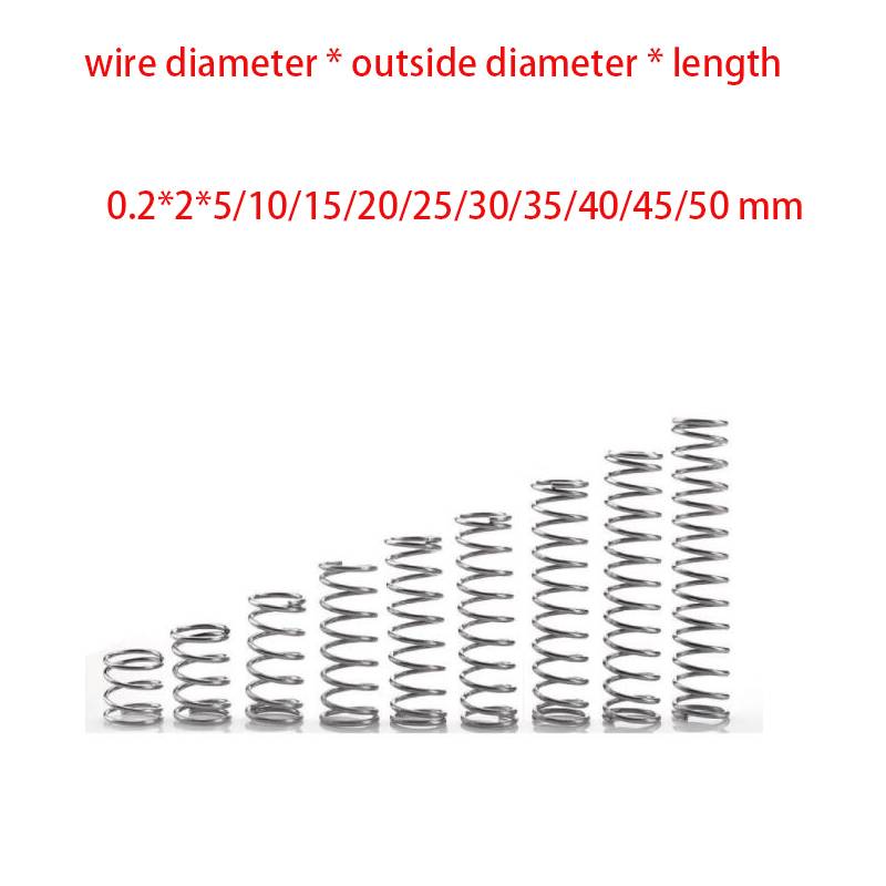 10pcs wire diameter 0.2mm Outer diameter 2mm Length 5-50mm  stainless steel compression spring extension springs10pcs wire diameter 0.2mm Outer diameter 2mm Length 5-50mm  stainless steel compression spring extension springs