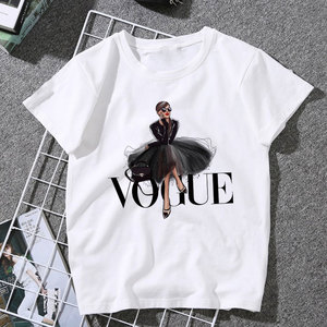 New Arrivals Fashion VOGUE Printed T shirt Women Harajuku Trend Style O-Neck T-Shirts Summer Short Sleeve Casual TShirt Tops(China)