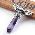 Hot Selling Skull Angels Wing Pendulum Wrap healing point beads Natural Amethyst Pendant Punk Vintage 1 pc angel wings pendant
