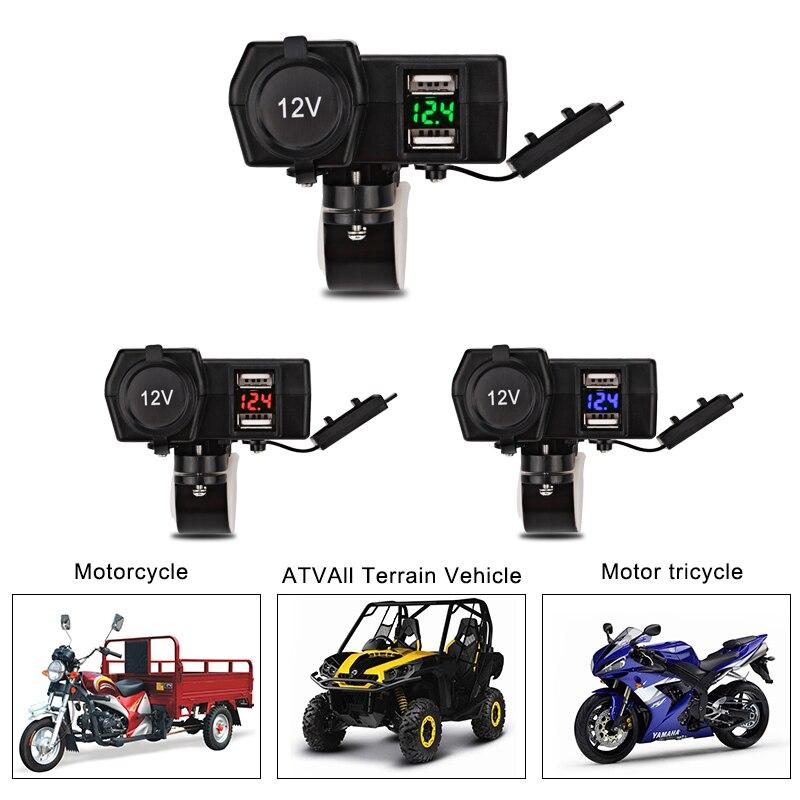 Dual USB Charger Waterproof Motor Motorcycle USB Motorcycle Charger Voltmeter Motorbike Socket Adapter Power Cigarette Lighter
