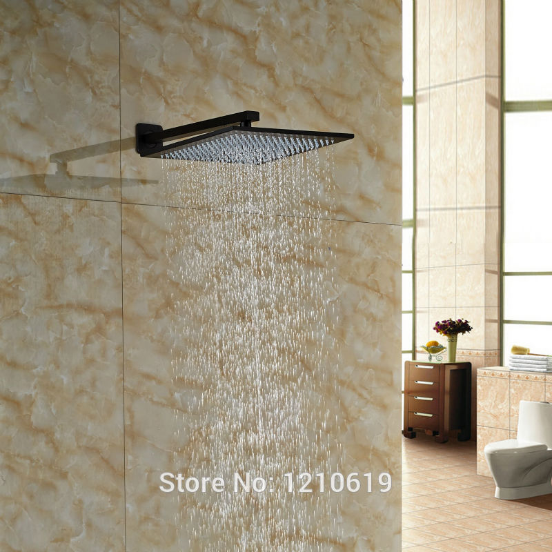 Newly Wall Mount 12 Top Shower Head Oil-rubbed Bronze Brass Shower Spray Head w/ Shower Arm luxury led color changing 12 square rainfall shower head with brass wall mount shower arm oil rubbed bronze