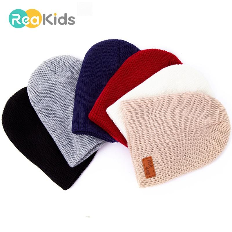 REAKIDS Baby Hedging Cap Child Winter Beanie Hats Children Baby Hedging Cap For Girls Boys Knitted Hat Cap Skullies Hat Gorros
