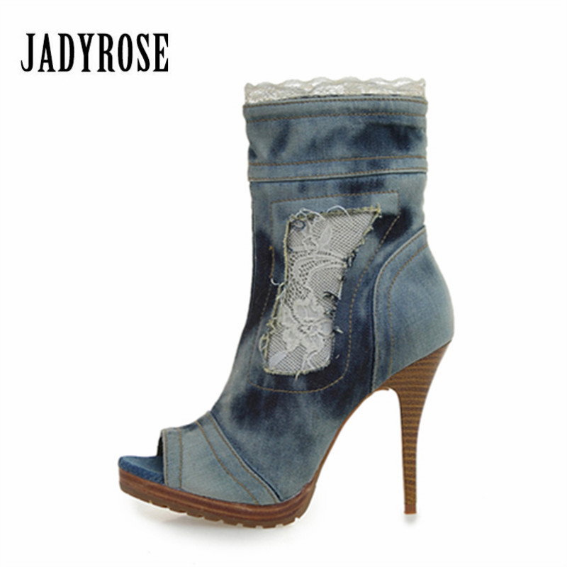 Jady Rose Women Denim Ankle Boots Peep Toe Jean Botas Mujer Lace Women Platform Pumps High Heel Shoes Woman jady rose mixed color women ankle boots pointed toe chunky high heel booties suede lace up botas mujer women pumps