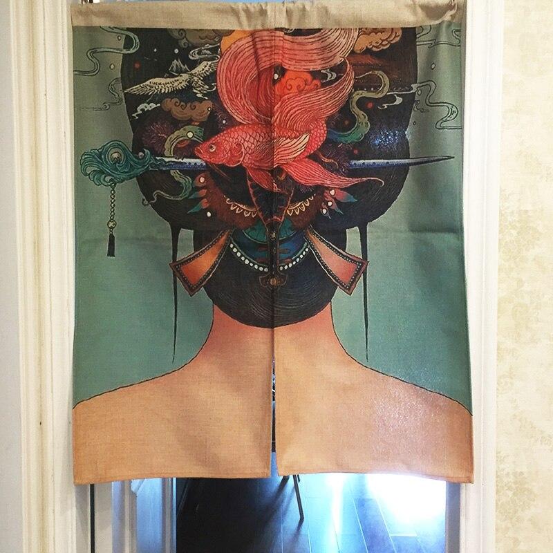 Tela de cortina para puertas de algodón ukiyo-e estilo japonés vintage tela de partición colgante Feng Shui tamaño de la cortina: 85*100cm Colgante Sunligoo de 7 piedras preciosas de Chakra, colgante de meditación espiritual, ventana, ornamento de Feng Shui, piedras de Reiki para decoración del coche