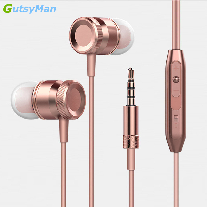 GutsyMan 3.5mm Jack Sport Super Bass Earphone Stereo Headset clear sound earpiece with Mic Music Earphone for All Phone Computer