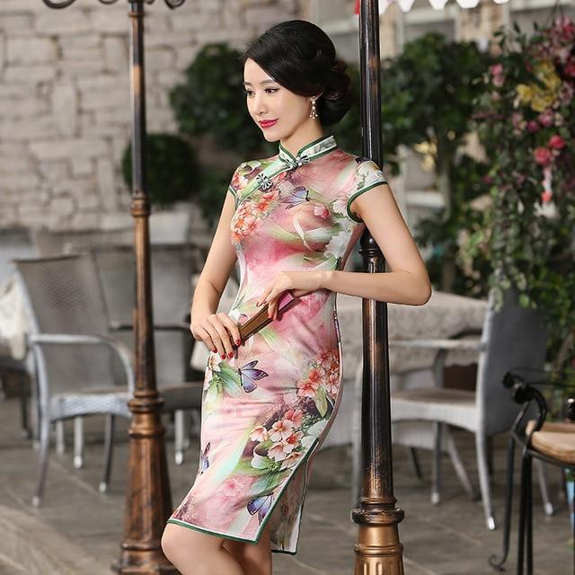 New High-grade Silk Cheongsam Women Chinese Dress Qipao Short Summer Sleeve Satin Party Dress Cosply Chinese Clothing Store 18
