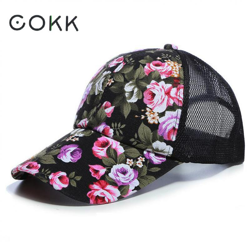 COKK Mesh Cap Flower Baseball Cap Women Summer Snapback Hats For Women Adjustable Casual Outdoor Sport Casquette Sun Hat Female