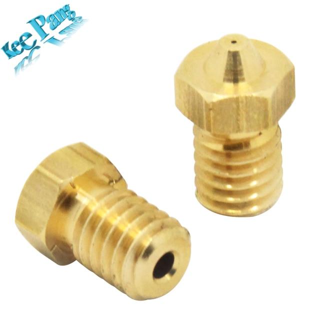 5 шт./лот V5 V6 сопла 0.2 мм 0.3 мм 0.4 мм 0.5 мм резьбовой M6 экструдер 3.0 мм части накаливания Медь 3D-принтеры Запчасти латунь Аксессуары