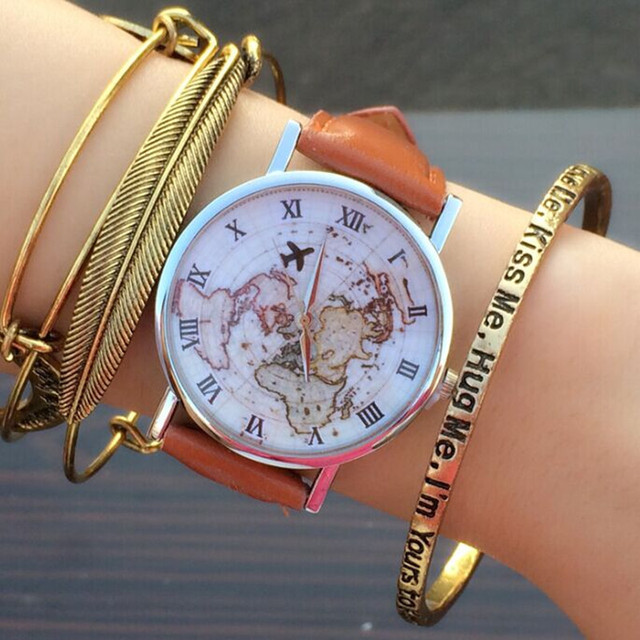 World Map Clocks For Sale. Sale Airplane Map watch Sailing around the world map Vintage Style  tan Leather WristWatch Women