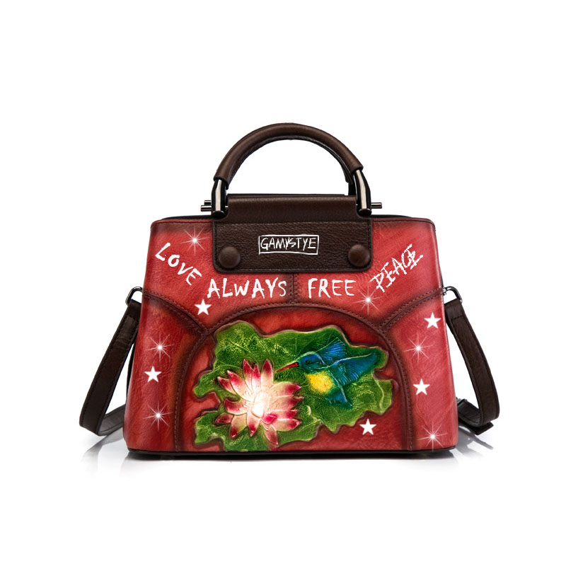 2019 sunmer bags Art Hand Drawing Crossbody women bags Genuine Leather bags flowers Shoulder straps bags LOVE PEACE handbags