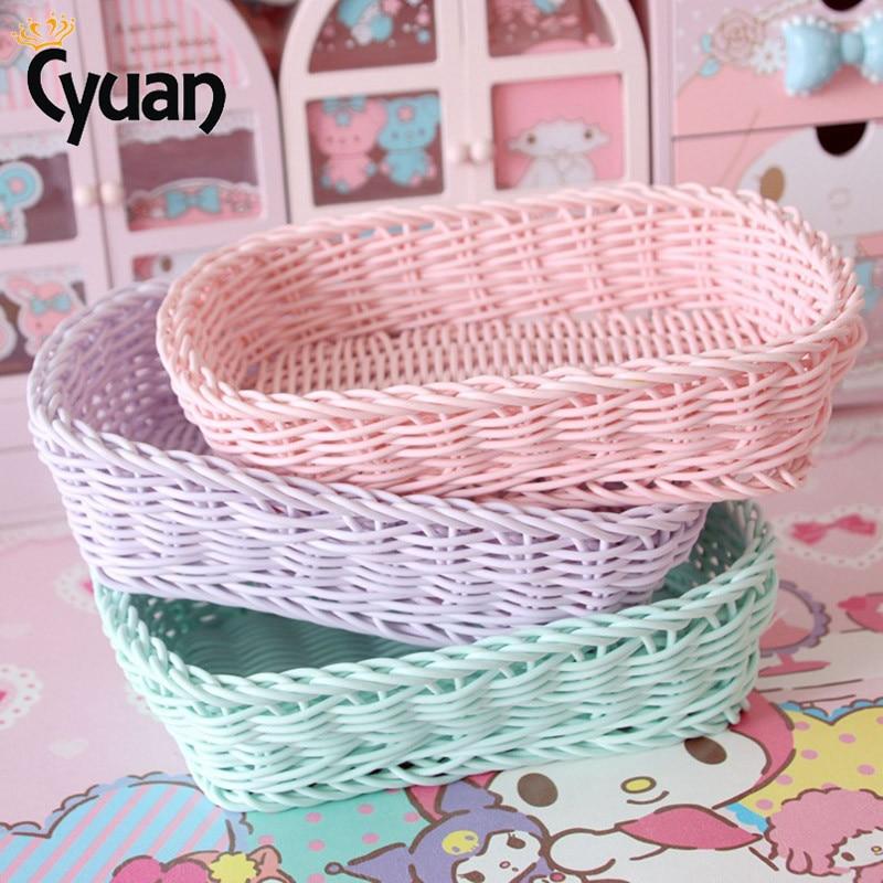 Easter Basket Home Rectangle Heart Artificial Rattan Harden Storage Basket Organizer Food Fruit Bread Bins For Easter Decoration