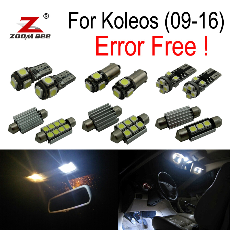 10pcs Canbus Error Free bulb for Renault for Koleos LED Interior Light Kit package (2009-2016) 18pc canbus error free reading led bulb interior dome light kit package for audi a7 s7 rs7 sportback 2012