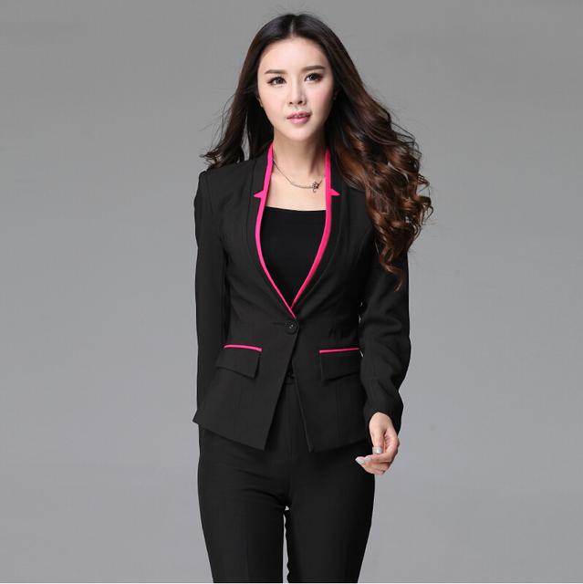 Novo 2015 moda desgaste Formal de trabalho fino terninhos para escritório senhoras elegantes ternos Blazer e calças uniformes profissional