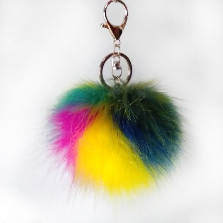 12 шт. 8 см зеленый синий желтый серии Поддельные Енот Мех животных брелок помпоном сумка подвеска красочные длинные волосы fulffy pom Jewelry подарк...