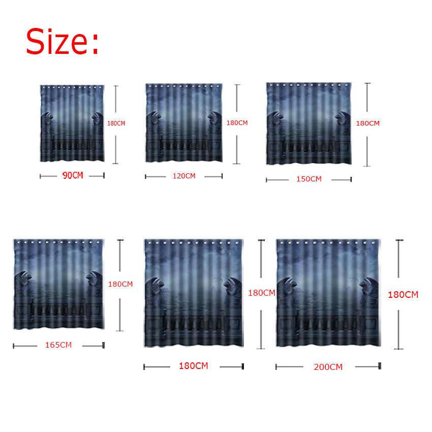 Wonzom الحديثة نسيج البوليستر دش ستائر الحمام ستارة الحمام 3d الحيوانية مع 12 السنانير الاكسسوارات للماء للديكور
