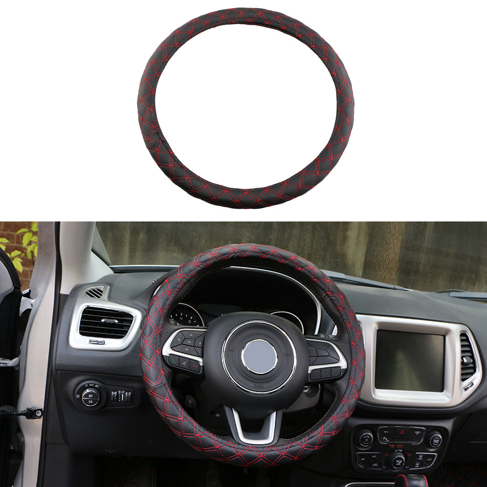1 Piece PU Leather Car Steering Wheel Cover Black with Red Line Pattern Steering Cover Case Padding M Size Fits 38cm/15