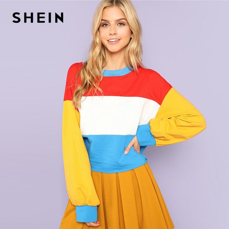SHEIN Multicolor Adretten Casual Minimalistischen Colorblock ...