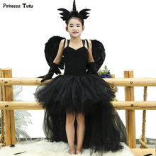 Black Angel Tutu Dress Before Short After Long Tulle Girl Dress Tail Kids Pageant Evening Party Dress Girls Halloween Costume
