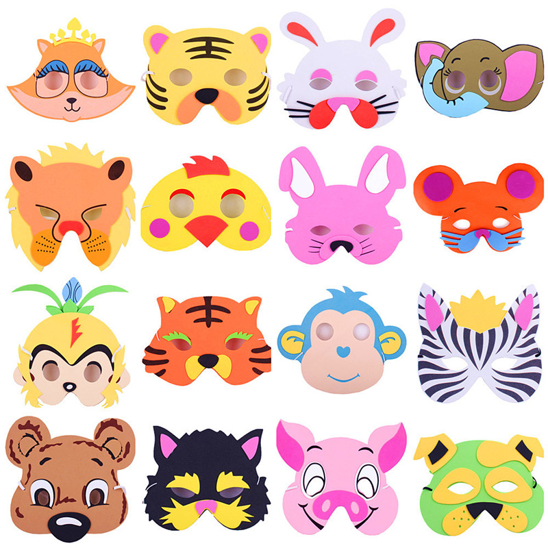 Cute EVA Foam Animal Masks Cartoon Hats For Children Birthday Party Cute Mask With Elastic Straps Toys Kids Game