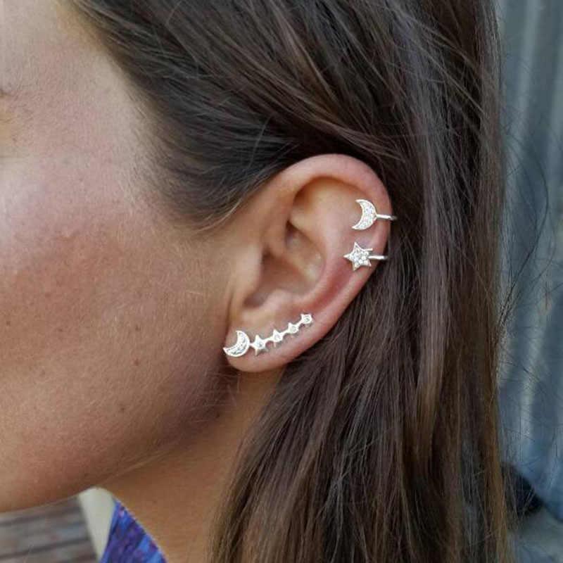 Комплект из 3 предметов Мода Стиль Moon звезды уха клип кристалл уха манжеты клип Женская Мода золотого, серебряного цвета Цвет серьги оптом E0501