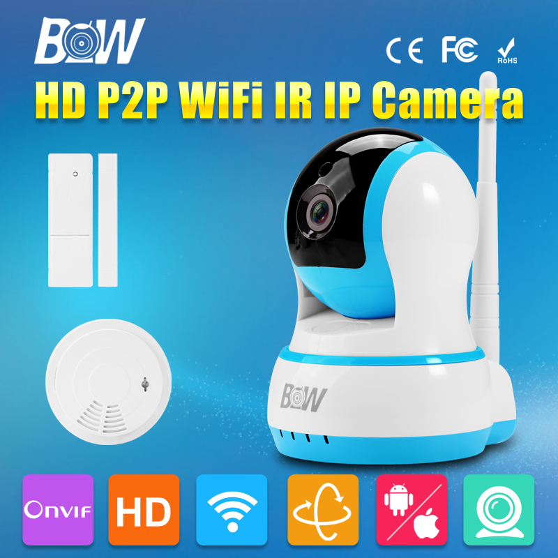 BW 720P HD IP Camera P2P Wireless Wifi 3.6mm Endoscope P/T Network Baby Monitor Surveillance CCTV + Door Sensor + Smoke Detector bw wireless wifi door