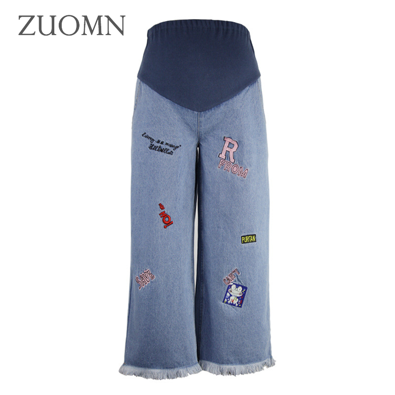 Loose Pregnancy Women Jeans For Pregnant Women Wide Leg Pants Maternity High Waisted Jeans Clothing Pregnancy Pant Y799 new jeans female large size loose nine pants pants stripes wide leg pants was thin jeans