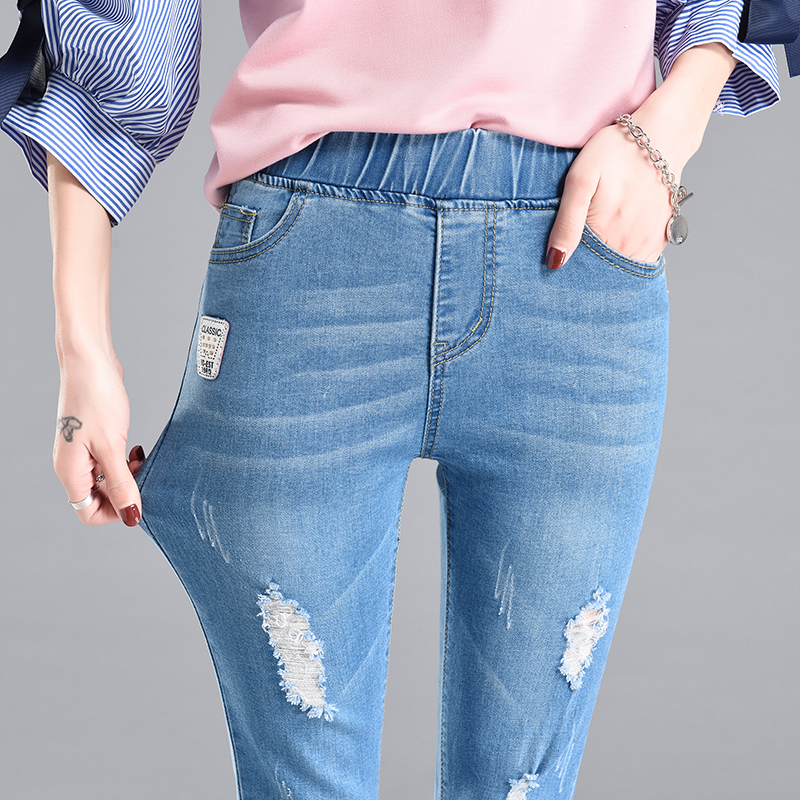 Woman Summer Capris Denim Jeans Elastic Waist Pencil Pants Big Size Female Skinny Trousers Ripped Femme Pantalon D23
