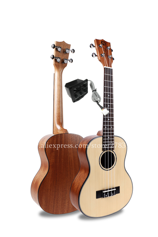 High End Ukulele 27 Tenor Ukelele Instrument With Spruce Top/Mahogany Body,Electric Acoustic ukelele With 2 Band LCD Pickup electric ukulele acoustic solid top only 4strings guitar ox bone nut mahogany body red tortoise shell celluloid binding ukelele