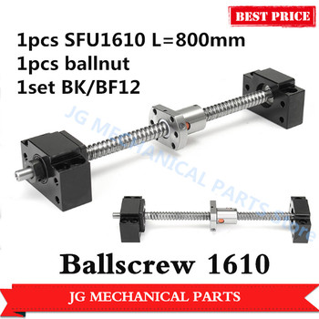 1pcs 16mm Rolled Ballscrew SFU1610 L=800mm C7 Ball Screw Ball nut+BK/BF12 ballscrew end support for CNC parts