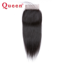 Queen Hair Peruvian Straight Remy Human Hair Weave Bundles Free Part Lace Closure With Baby Hair