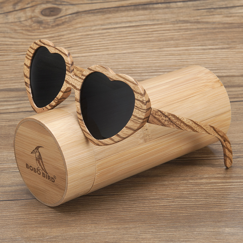 795078022f2 BOBO BIRD Brand New Unique Design Zebra Wood Ladies Sunglasses Women Heart- shaped Polar Sun