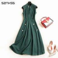 2018 autumn new fashion denim dress women sleeveless solid color Slim V neck OL dresses high quality elegant long Dress