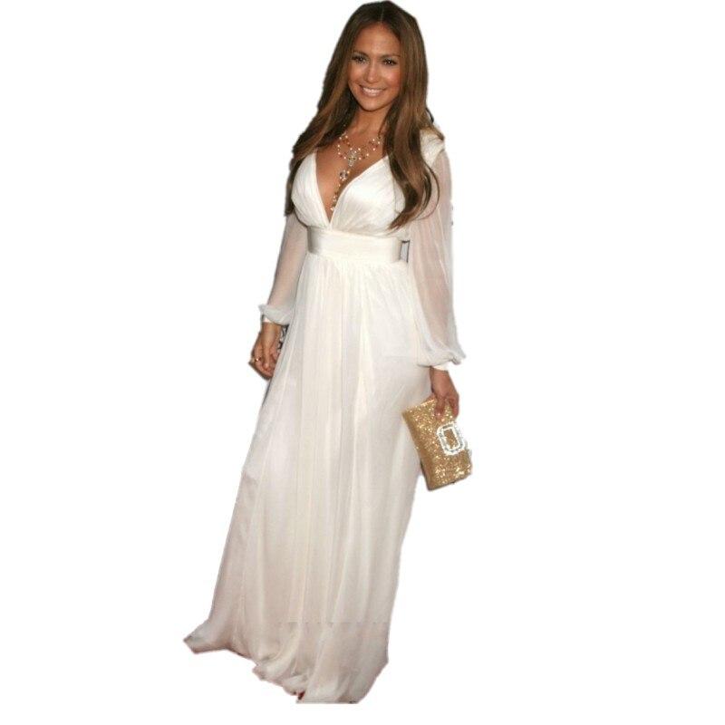 Long Sleeve White Prom Dresses 2017 Sexy V Neck A Line