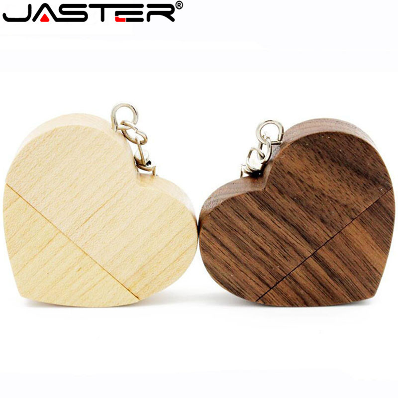 JASTER (10 Pcs Free LOGO) Wooden Love Heart With Chain USB Flash Drive Pendrive 8GB 16GB 32GB 64GB Customer LOGO Wedding Gift