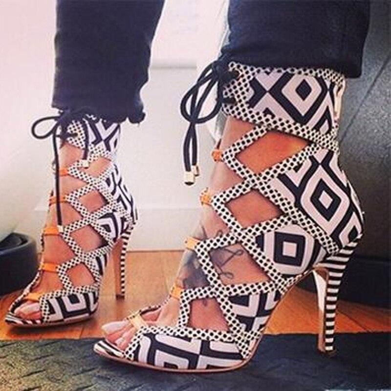 Geometric Zebra Strappy Heels Women Sandals 2015 Trendy Black White Contrast Colour Ankle Booties High Heel Sandals novatrack zebra 12 2015 red white