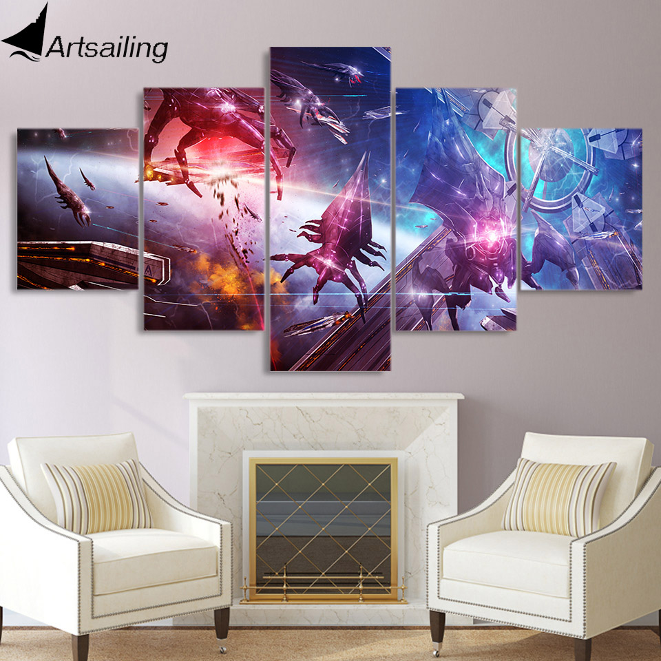 ArtSailing 5 piece canvas painting Mass Effect game posters and prints wall picture for living room free shipping XA2249C