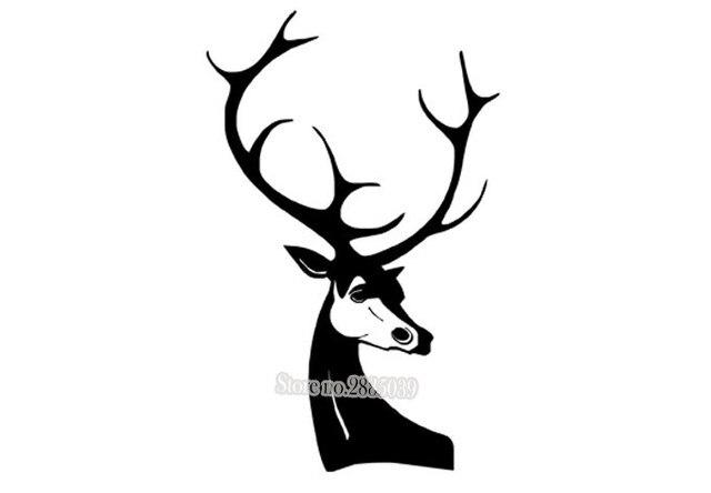 Hot Vinilos Paredes Deer Wall Sticker A Majestic Deer Head Animal Series  Decal Waterproof Vinyl Wall Art Custom Home Decor LA373