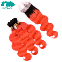 Allrun Peruvian Body Wave Hair Bundles With Closure 3Bundles T1B/Orange Remy Human Hair Weave Bundles With Closure