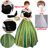 Adult Carnival Elsa&Anna Princess Dress Costume Women Anna Coronation Dress halloween Party Cosplay Costume Plus Size XS 3XL