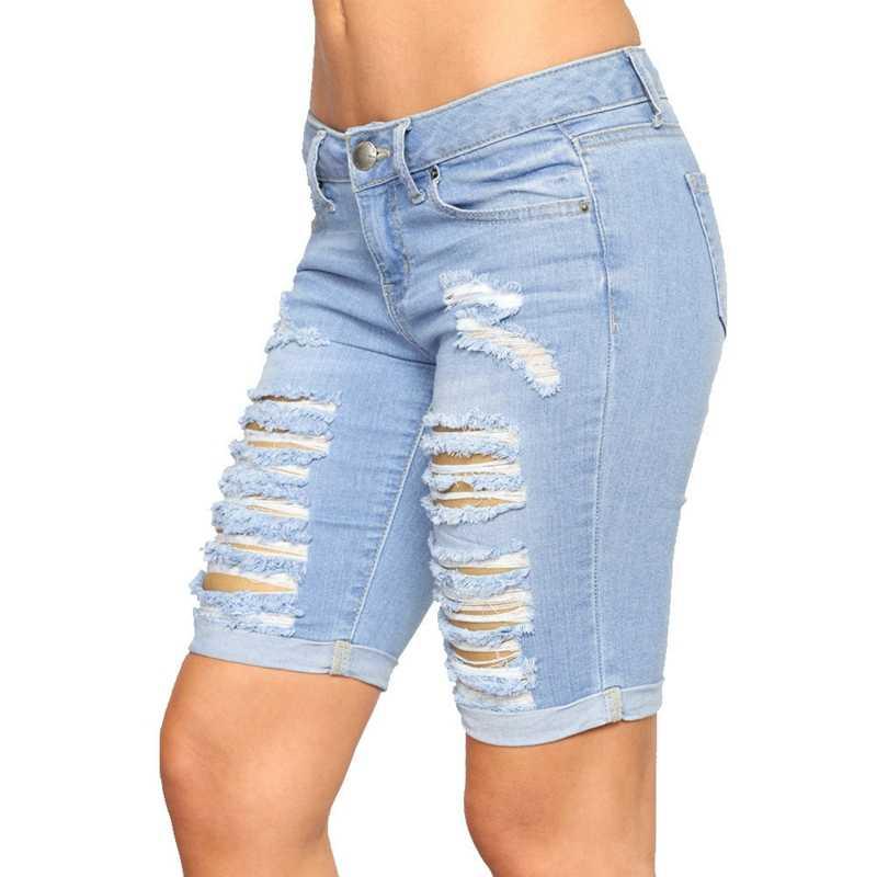 Women Ladies Skinny Knee Length Short Denim Pants Capris Jeans Summer SM